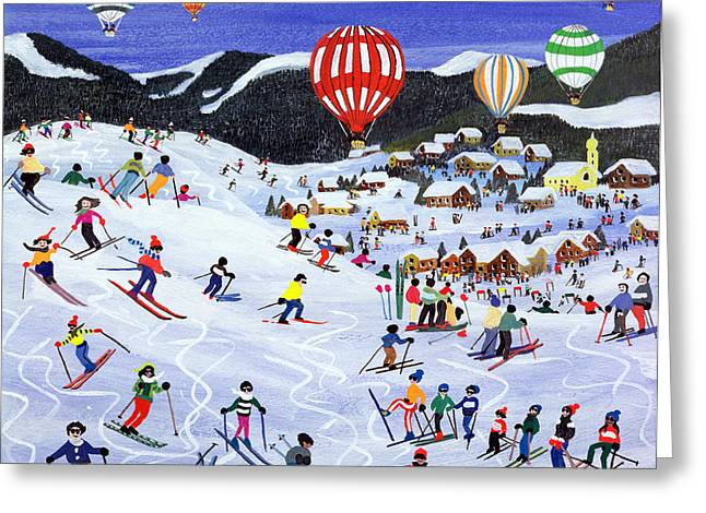 Skiing Christmas Cards Greeting Cards - Ballooning over the piste Greeting Card by Judy Joel