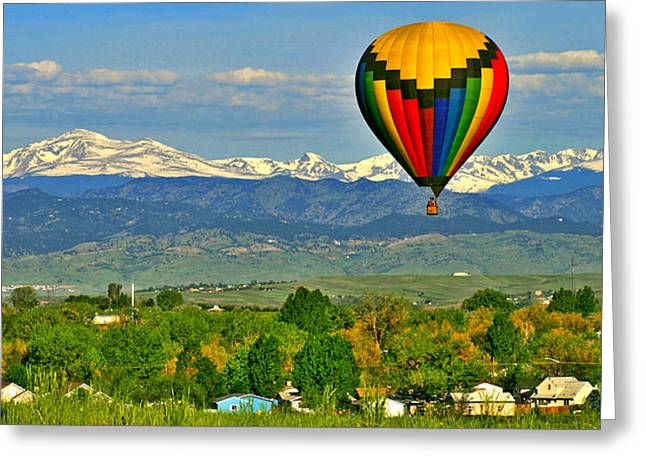 Longmont Greeting Cards - Ballooning Over The Rockies Greeting Card by Scott Mahon