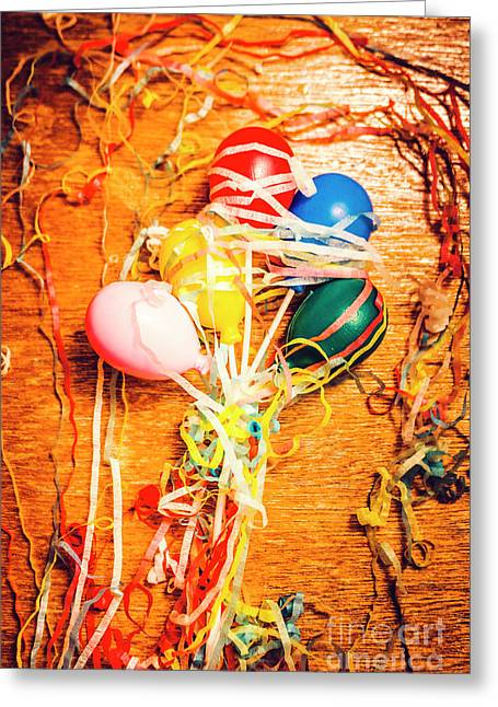 Balloons Entangled With Colorful Streamers Greeting Card by Jorgo Photography - Wall Art Gallery