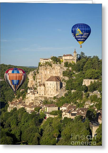Historic Home Greeting Cards - Balloons over Rocamadour Greeting Card by Brian Jannsen