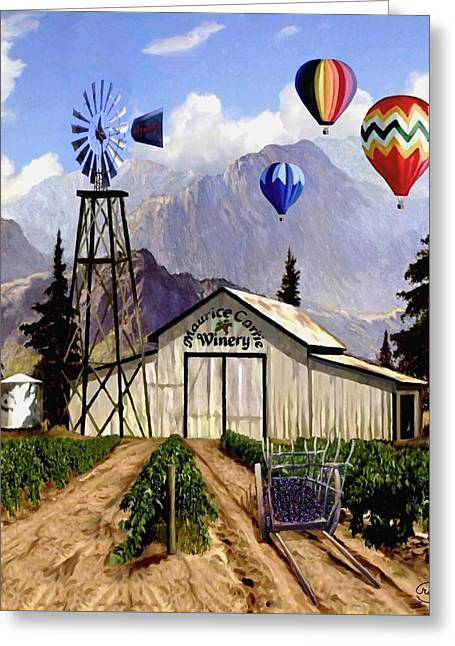 Wagon In A Barn Greeting Cards - Balloons Over the Winery II Greeting Card by Ronald Chambers