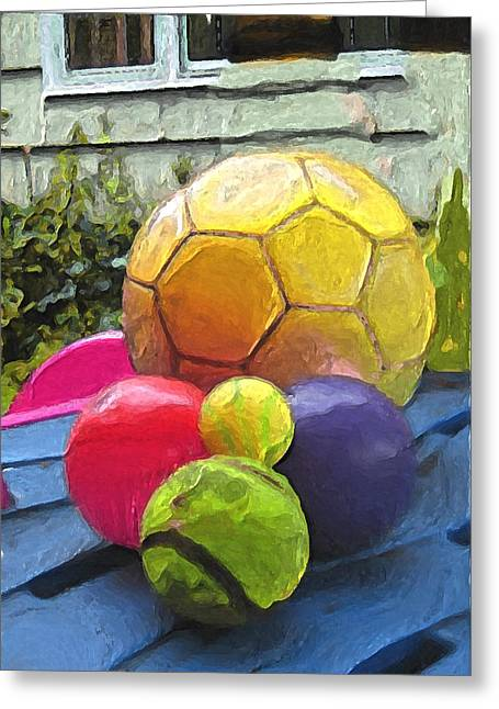 Sports Art For Kids Greeting Cards - Balls to Play with Outside Greeting Card by Carla G Art Nitkey