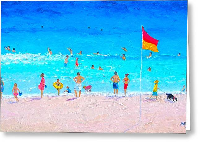 Dog Beach Print Greeting Cards - Balmy Day Greeting Card by Jan Matson