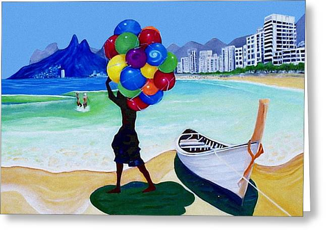 Ipanema Beach Greeting Cards - Baloon Man Greeting Card by Claude Arango