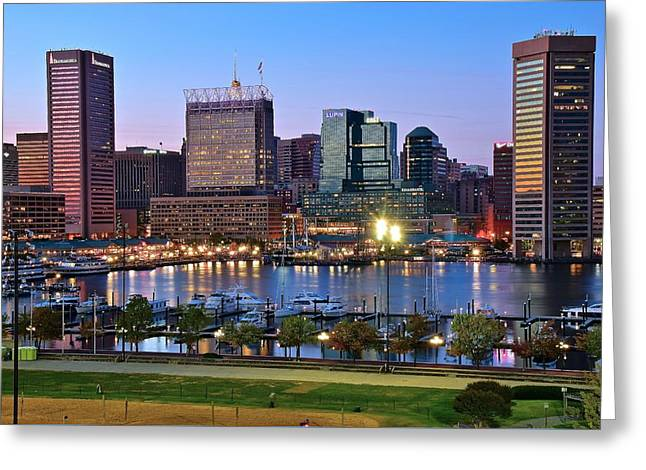Baltimore At Dusk Greeting Card by Frozen in Time Fine Art Photography