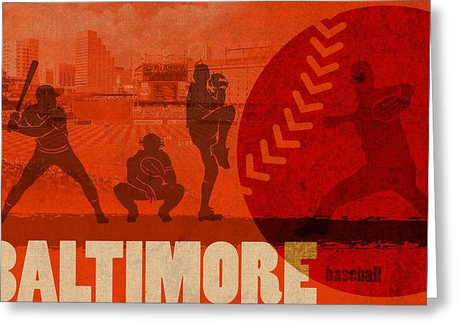 Baseball Art Greeting Cards - Baltimore Baseball Team City Sports Art Greeting Card by Design Turnpike