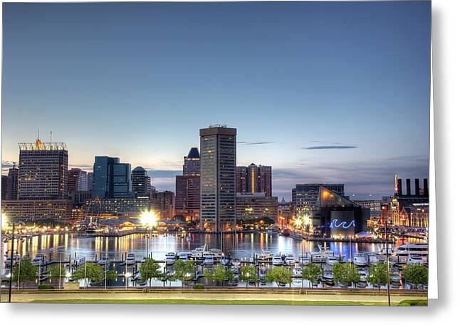 Baltimore Harbor Greeting Card by Shawn Everhart