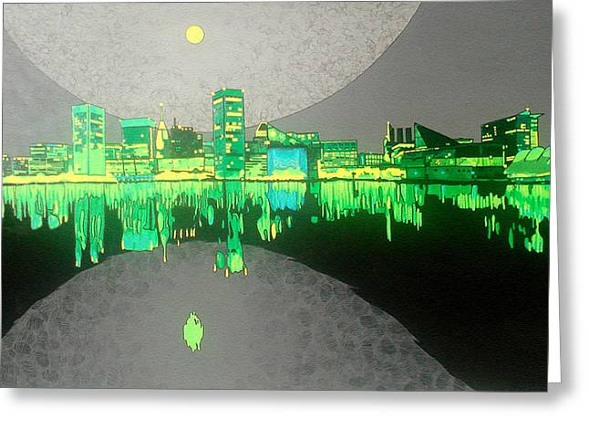 Glowing Water Greeting Cards - Baltimore Greeting Card by Jason Charles Allen