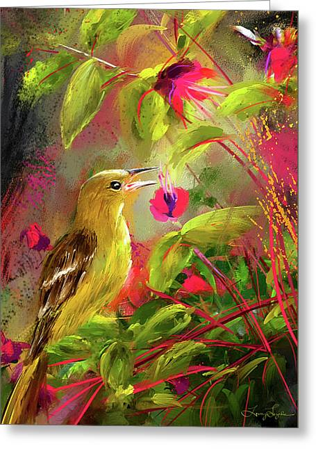 Baltimore Oriole Art- Baltimore Female Oriole Art Greeting Card by Lourry Legarde