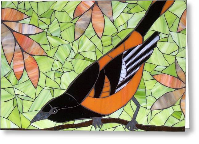 Branch Glass Greeting Cards - Baltimore Oriole Greeting Card by Barbara Benson Keith