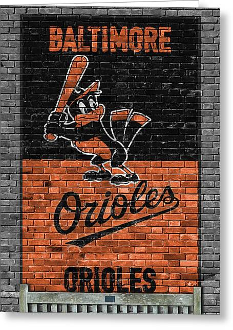 Baltimore Orioles Brick Wall Greeting Card by Joe Hamilton