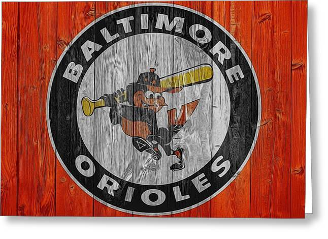 Baltimore Orioles Graphic Barn Door Greeting Card by Dan Sproul