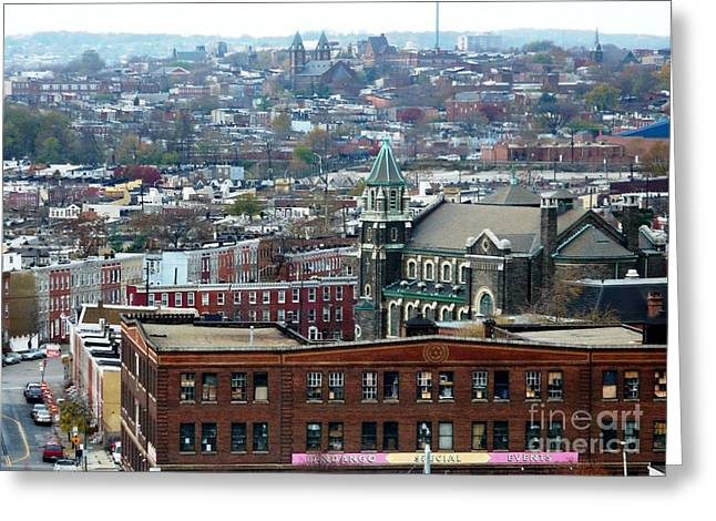 City Buildings Greeting Cards - Baltimore Rooftops Greeting Card by Carol Groenen