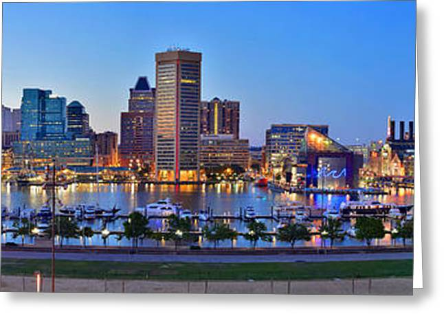 Maryland Greeting Cards - Baltimore Skyline Inner Harbor Panorama at Dusk Greeting Card by Jon Holiday