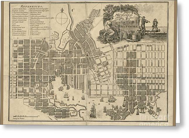 Baltimore Vintage Map Greeting Card by Pd