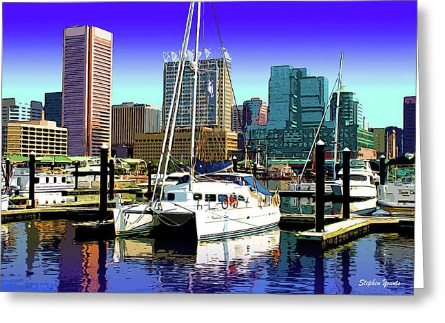 Power Plants Digital Art Greeting Cards - Baltimores Inner Harbor Greeting Card by Stephen Younts