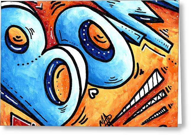 Licensor Greeting Cards - Bam is A contemporary Fun PoP Art Painting by MADART Megan Duncanson Greeting Card by Megan Duncanson