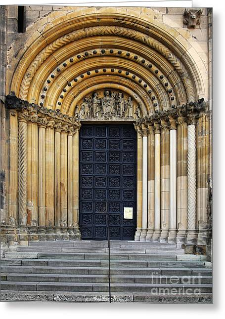 Bamberg Cathedral Entrance, Bavaria Greeting Card by Helmut Meyer zur Capellen