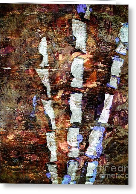 Printmaking Greeting Cards - Bamboo Abstract Greeting Card by Laura L Leatherwood