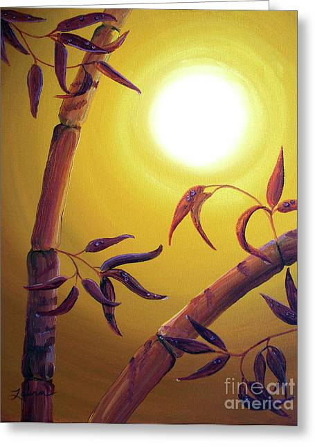 Mystical Moons Greeting Cards - Bamboo after a Light Rain Greeting Card by Laura Iverson