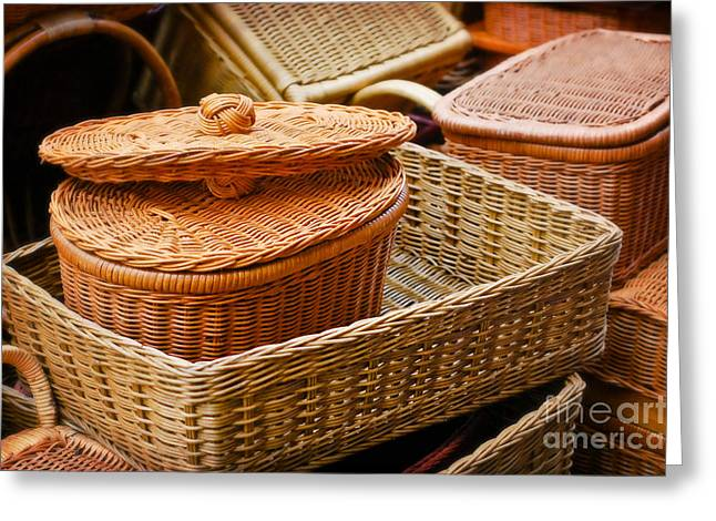 Still Life Pyrography Greeting Cards - Bamboo Baskets Greeting Card by Charuhas Images