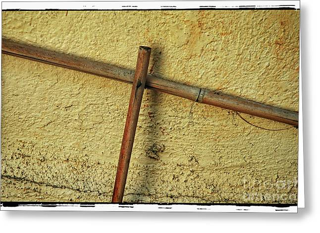 Bamboo Cross Greeting Card by Michael Ziegler