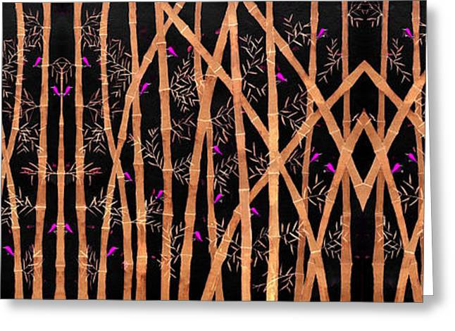 Forest At Night Greeting Cards - Bamboo forest at night Greeting Card by Sumit Mehndiratta