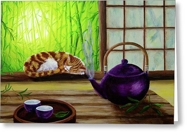 Orange Tabby Paintings Greeting Cards - Bamboo Morning Tea Greeting Card by Laura Iverson