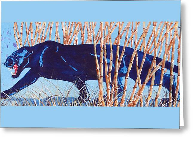 Bamboo Panther Greeting Card by Larry  Johnson