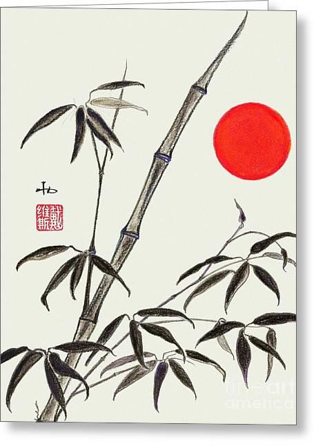 Feng Shui Pastels Greeting Cards - Bamboo Sunrise Greeting Card by Irina Davis