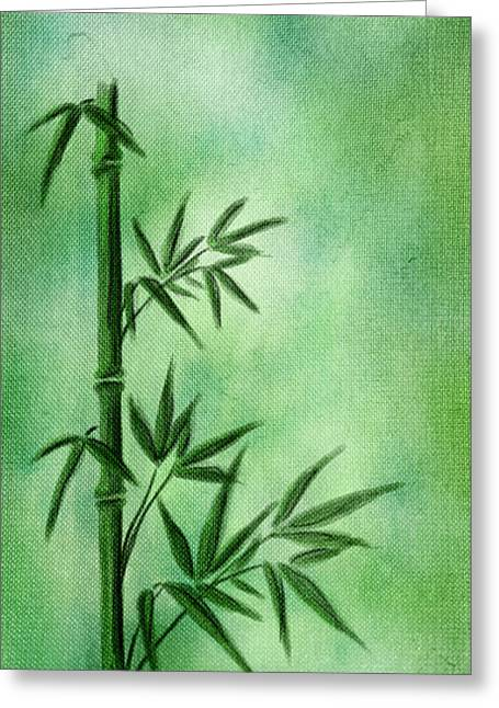Acrylic Art Greeting Cards - Bamboo Greeting Card by Svetlana Sewell