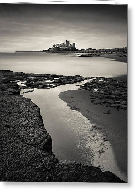 Battlement Greeting Cards - Bamburgh Castle Greeting Card by Dave Bowman