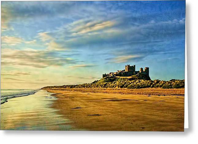 Sand Castles Greeting Cards - Bamburgh Morning Greeting Card by Brian Tarr