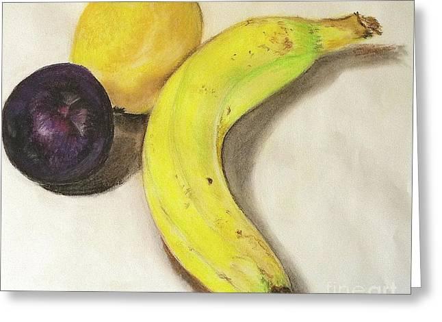 Banana Pastels Greeting Cards - Banana And Company Greeting Card by Sheron Petrie