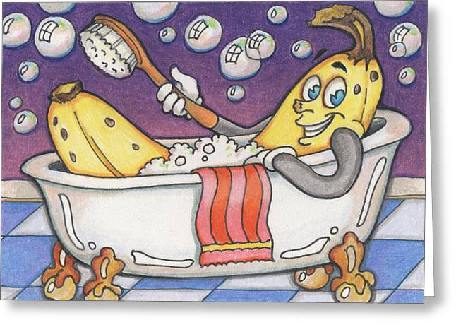 Atc Greeting Cards - Banana Bubble Bath Greeting Card by Amy S Turner