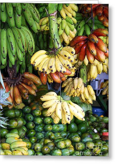 Avocado Green Greeting Cards - Banana display. Greeting Card by Jane Rix