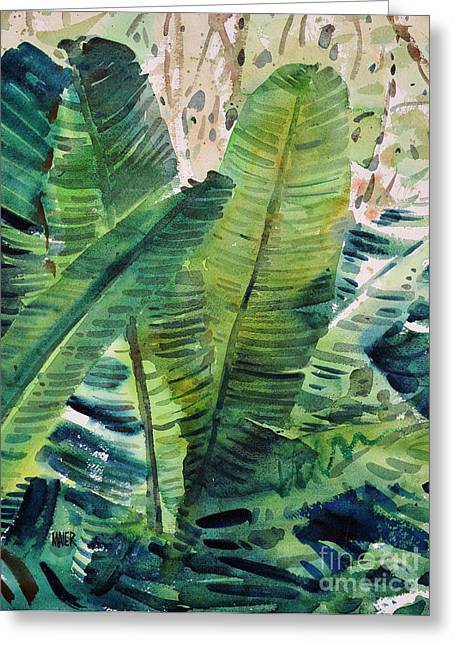 Banana Paintings Greeting Cards - Banana Leaves Greeting Card by Donald Maier