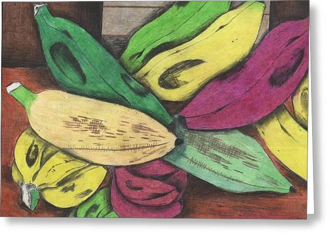 Banana Pastels Greeting Cards - Bananas Greeting Card by Daniel Kabugu