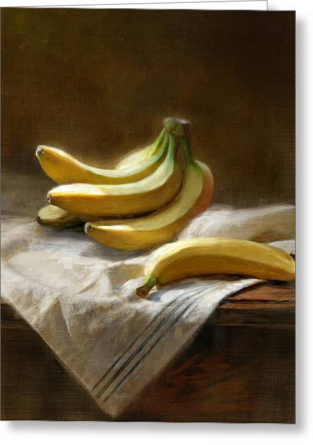 Still Life Greeting Cards - Bananas On White Greeting Card by Robert Papp