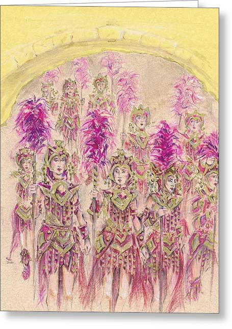 Procession Framed Prints Greeting Cards - Band of Warriors or Banda de Guerreras Greeting Card by Jill Bennett