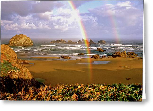 Bandon Beach Rainbow Sunrise Greeting Card by Ed  Riche