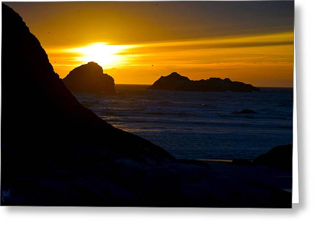 Monolith Greeting Cards - Bandon Beach Solstice Sunset Greeting Card by Michele  Avanti