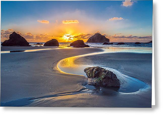 Sunset Seascape Greeting Cards - Bandon Face Rock Greeting Card by Robert Bynum