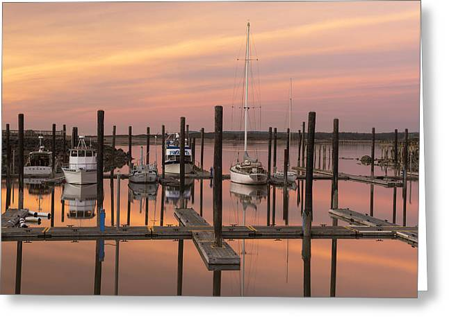 Soft Light Greeting Cards - Bandon Harbor Greeting Card by Christian Heeb