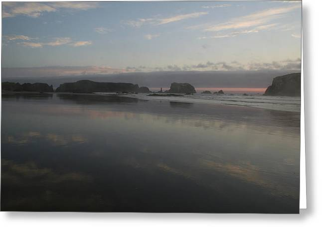 Beach Landscape Greeting Cards - Bandon Reflection I Greeting Card by Dylan Punke