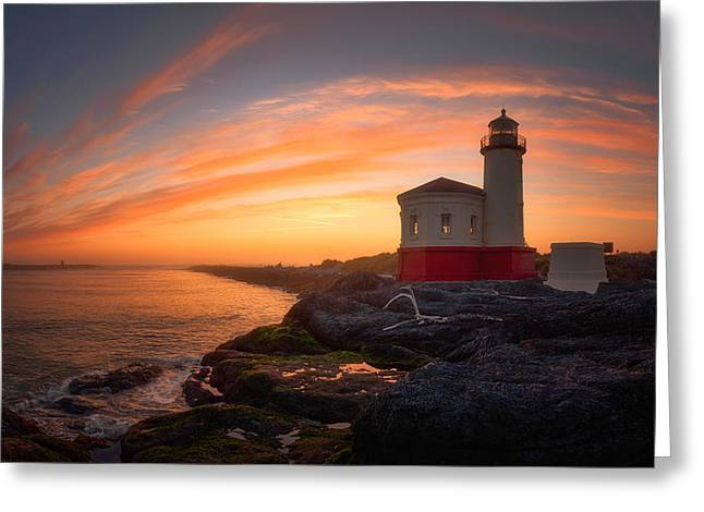 Ocean Art Photography Greeting Cards - Bandon Sundown Greeting Card by Darren  White