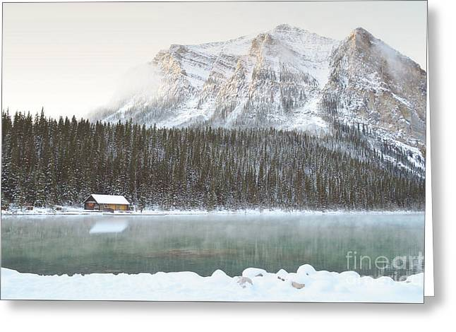 Banff Canada Log Cabin Mountain Landscape Greeting Card by Andrea Hazel Ihlefeld