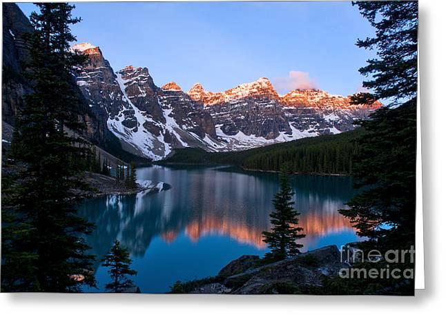 Moraines Greeting Cards - Banff - Moraine Lake Sunrise Greeting Card by Terry Elniski