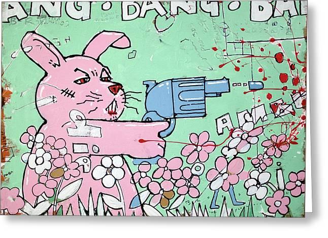 Bang Bang Bunny Greeting Card by H James Hoff