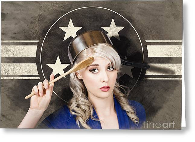 Bangers And Mash Girl. Army Pin Up Housewife Greeting Card by Jorgo Photography - Wall Art Gallery